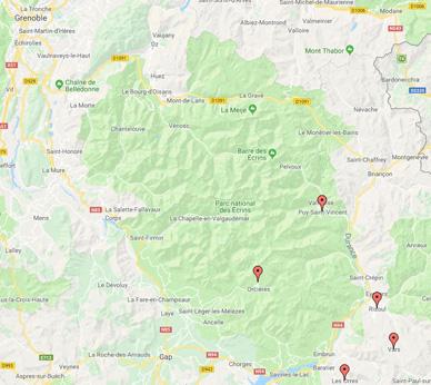 Carte des meilleures stations de ski des alpes du sud